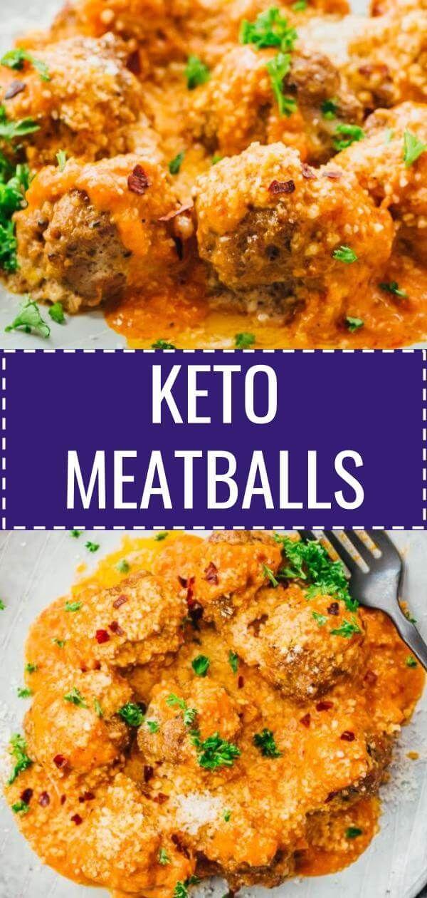 Keto Meatballs With Creamy Tomato Sauce Ground Beef Keto Recipes Keto Beef Recipes Creamy Tomato Sauce