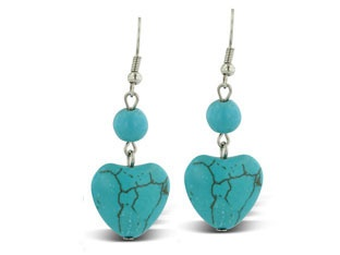 Heart Shaped Turquoise Dangle Drop Earrings Available Exclusively at Gemologica.com