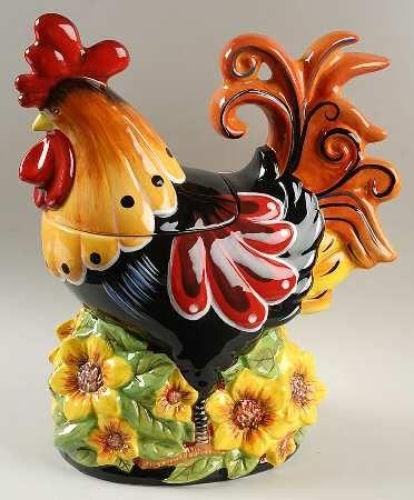 Certified Int Corp Chanticleer Rooster Figurine Cookie Jar & Lid