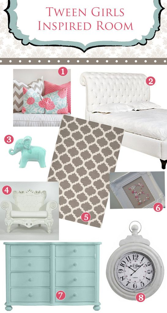 Yes, yes and YES! gorgeous tween girl bedroom - gray, white, muted turquoise and coral pink