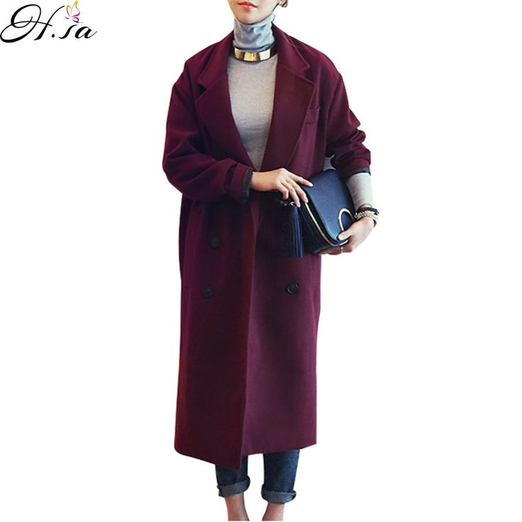 H.SA Winter Coat Women Elegant Long Overcoat Woolen Jacket Purple Red Wool Trench Coats Loose Winter Outwear Long  Woolen Jacket #Affiliate