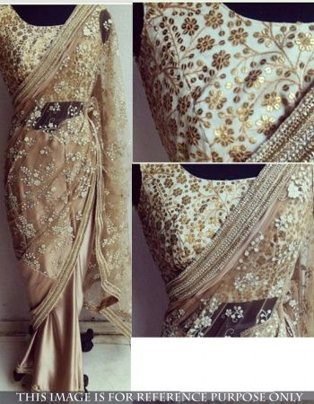 Shop Online Coffie Embroidered Net Bollywood Replica Saree . More Collection Of Bollywood Replica Suits , Sarees , Lehenga And Gowns On Offloo