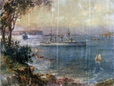Painting depicting the arrival of the first RAN fleet of seven ships in Sydney on 4  October 1913
