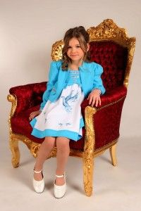 2 tlg. schwingendes Kinderkleid mit Bolerojacke