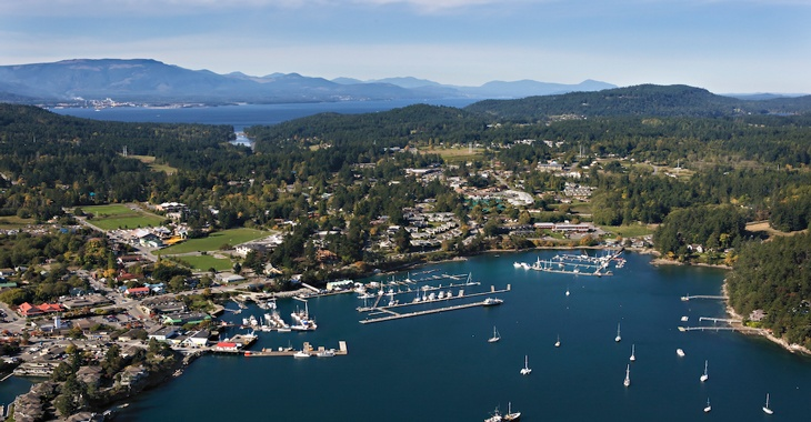 Aerial view of Ganges Town & Harbour, Salt Spring Island, BC