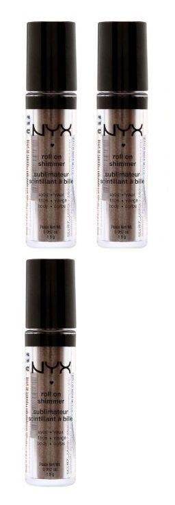 Lot Of 3 - Nyx Roll On Shimmer For Eyes, Face & Body Res16 Walnut
