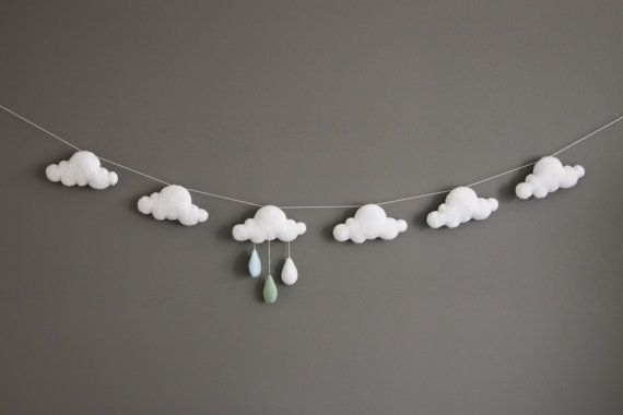 Felt Cloud and Raindrops Garland, Nursery Decor, Baby Shower Gift, Blue, White and Mint, Bunting, Bedroom Decor