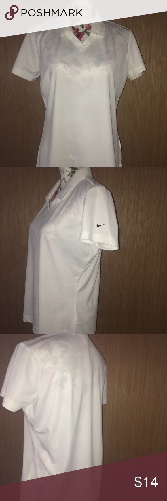 """Nike Golf Womens Dri-fit Polo Ladies Shirt White M Nike golf polo shirt Women's size M Pull over  White  Dri-fit  Shorts sleeve  New with tags  Measurements are approximate:  Length – 25"""" Bust – 20"""" Nike Other"""