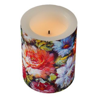 Vintage Floral Bright Country Flowers Painting Flameless Candle