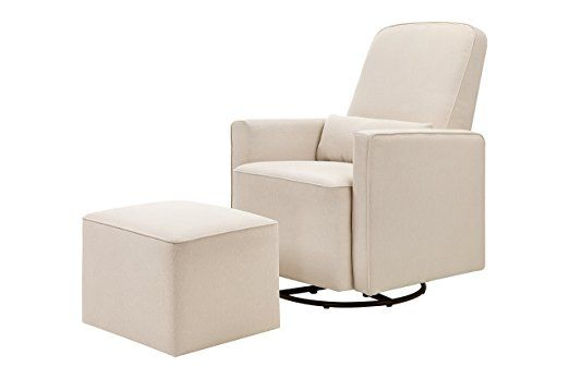 The DaVinci Olive Upholstered Swivel Glider has a metal base that allows for a smooth and gentle 360 degree swivel motion and forward and backward gliding. You will be pleased to learn that it is free of chemical flame retardants. You will also be delighted to know that no assembly is required and it comes with a 1 year warranty. These few benefits alone make the DaVinci Olive Upholstered Swivel Glider a nursery glider that offers excellent value for a relatively low price