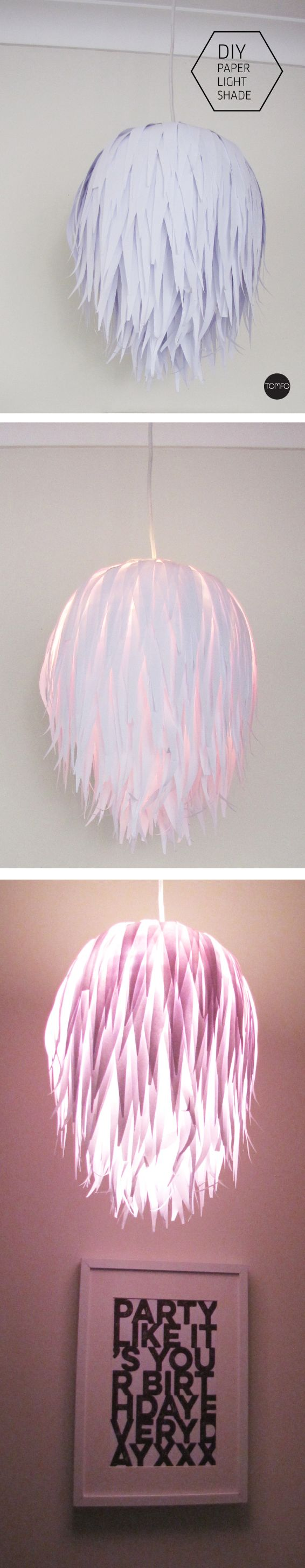 How to make this cool paper light shade on the blog. Super easy, paper, scissors, mod podge and a paper lantern