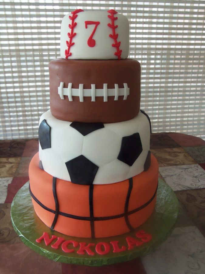 My Sports Cake Basketball Soccer Football And Baseball