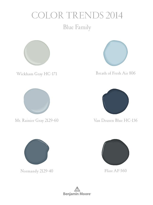 Blues, part of Benjamin Moore Color Trends 2014 palette. {Note from LLH: I've used Wickham Gray in my house for years and love it…especially in sun-filled rooms.}