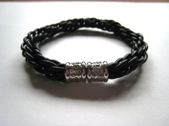 Handmade Black Leather Bracelet with Magnetic Clasp, Magnetic Clasp Bracelet, Wo…   – Products