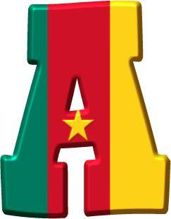 Alfabeto Decorativo: Alfabeto - Bandeira de Camarões - PNG