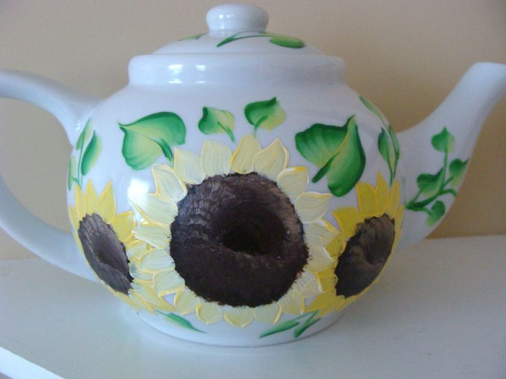 Sunflower Teapot, flowers, floral, Hand Painted, Rustic decor, country home, housewarming gift, gift by CANADIANCREATIONZ on Etsy