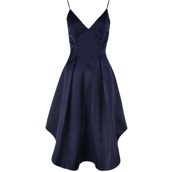 Keepsake Heart Strong Dress ($225) ❤ liked on Polyvore featuring dresses, navy, blue strapless dress, heart dress, blue dress, slim fit dress and satin dress