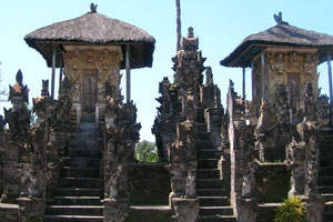 "Pura Dalem Jagaraga  is located in the Jagaraga Village, Sawan district 11 km east of the city of Singaraja, . The village is famous for its ""Puputan Jagaraga"" war against the Dutch in 1848 under the command of I Gusti Ketut Jelantik. Pura Dalem neighborhood has its own uniqueness which relief vintage cars driven by people who are armed, relief plane crashed, the relief of the Dutch drinking beer and others."