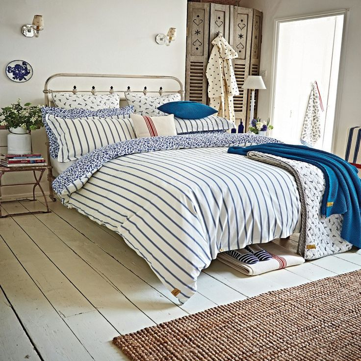 Nautical Themed Bedding | Joules Sea Ditsy Blue Striped Bed Linen at Bedeck Home
