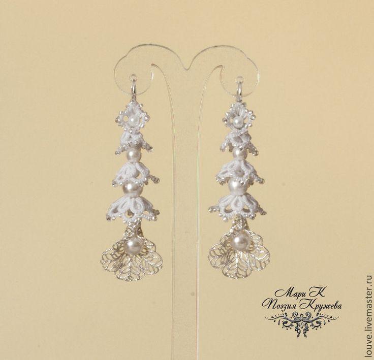 Купить Длинные свадебные серьги Цветочная Гирлянда Анкарс Фриволите - белый, свадьба, свадебные серьги