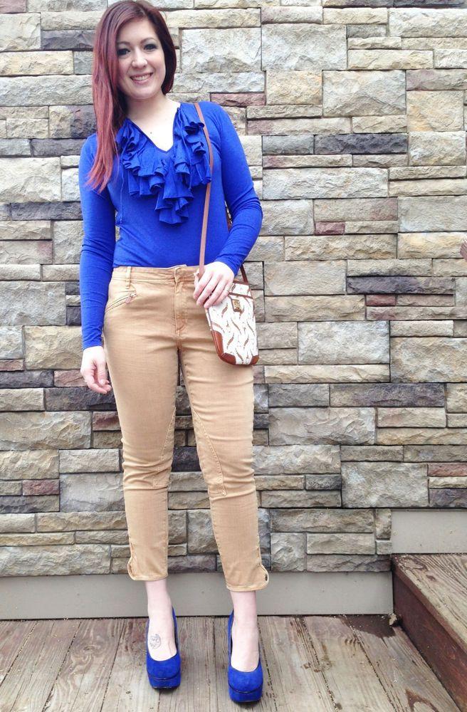 Ralph Lauren Sport Womens Royal Blue Pima Cotton Ruffle Shirt Blouse Sz M #RalphLaurenSport #KnitTop #Casual