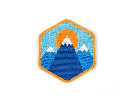 Three Mountains Iron On Patch Embroidered Patch by WashiGang