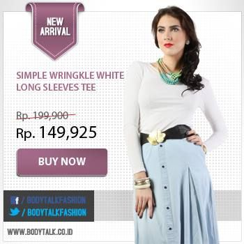 Pair your white tee with midi skirt! Get the collection on: www.bodytalk.co.id 25% discount off!