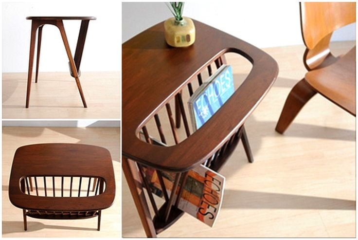 From eBay seller  simplymod :   Outstanding vintage modern magazine table, c. 1950s or 60s. ...  The wood is pretty solid walnut with smooth soft rounded edges that are very inviting to the touch.