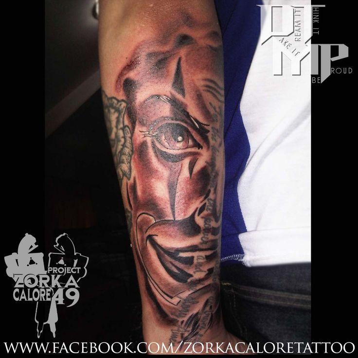Clown tattoo by Zorka Calore Tattoo
