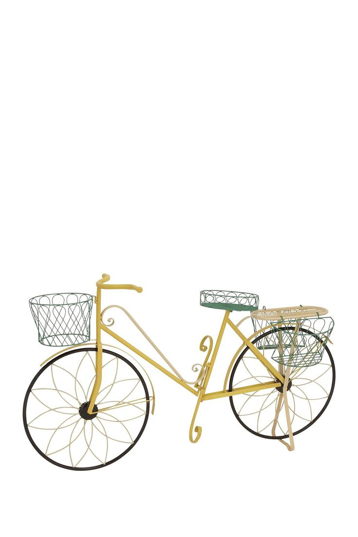 Yellow metal bicycle plant stand on hautelook home decor pinterest stand on metals and - Bicycle planter stand ...