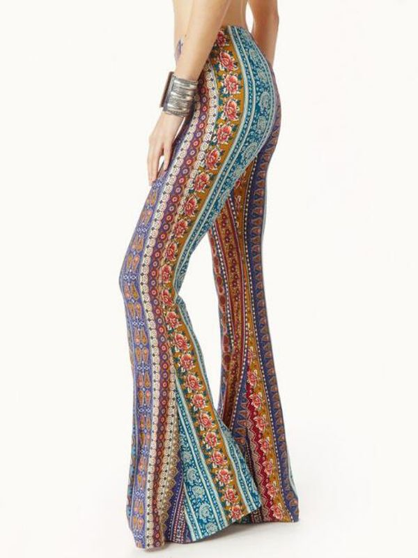 b86fe4b0ea9dbe Orange Tribal Floral Pattern High Waisted Thot Extreme Flare Bell Bottom  Vintage Long Pants