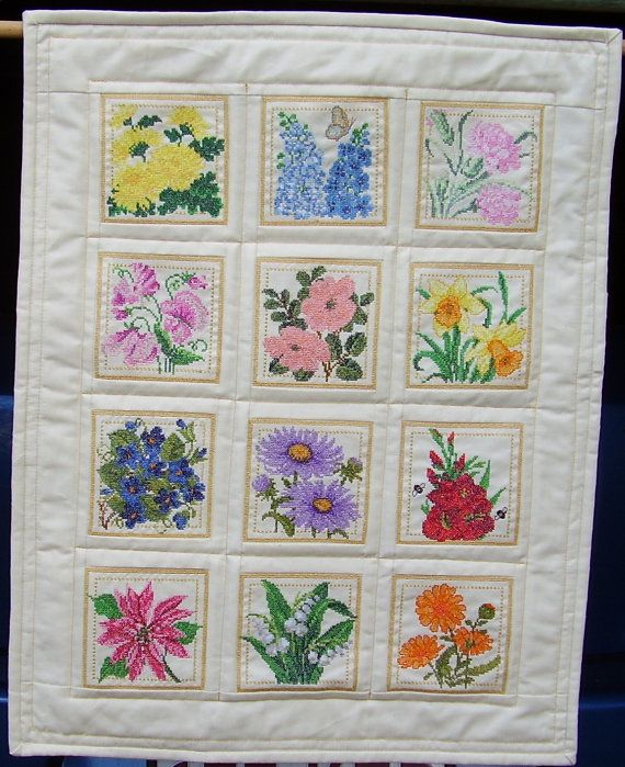 Cross Stitch Flower Quilt  mini by HandMadeQuiltsbyJane on Etsy