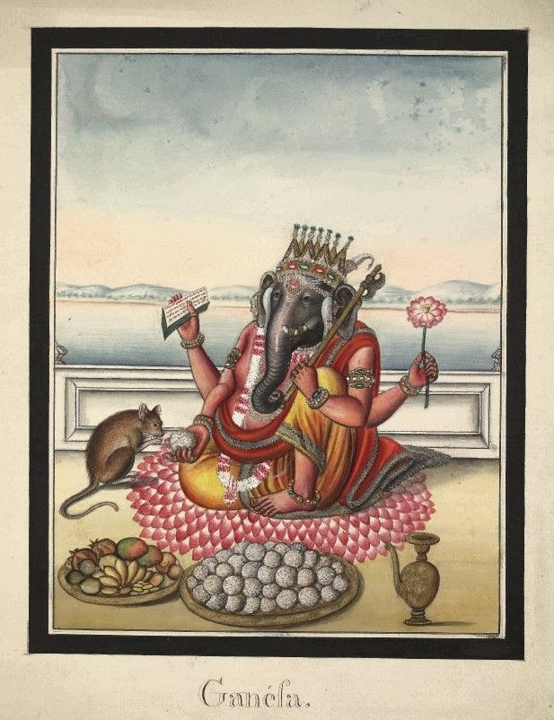 Company School, Patna, 19th cent. Watercolour painting on paper of Gaṇeśa, seated on a lotus on a terrace overlooking water and distant hills. Shown seated with one knee raised and with four arms. In his upper left hand he holds an axe which he rests against his shoulder and in his lower left hand he holds a lotus flower. In his upper right hand he holds a ball of laddu (sweetmeats) from which his vahana (vehicle) the rat eats. In his lower right hand he holds a manuscript.