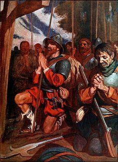 """La Pintura y la Guerra """"Conquistadors praying before a battle at Tenochtitlan"""" (Aztec Conquest-Fall of an Empire) J.H. Robinson"""