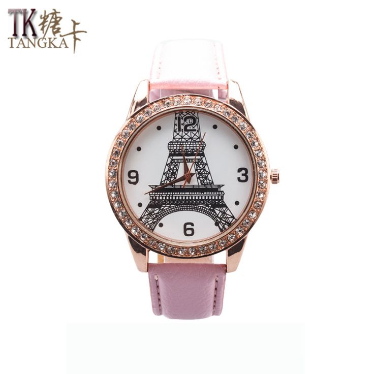 nice Fashion casual lady lovely pink artificial leather watch with crystal quartz watch analog iron tower pattern watch