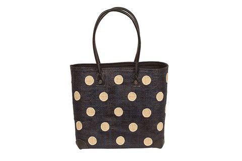 New for 2015 - Polkadot Basket available in Black, Aqua, Lime and Fuchsia www.ravinala.co.uk #leather #raffia #drawstring #beachbag #strawbag #tote #basket