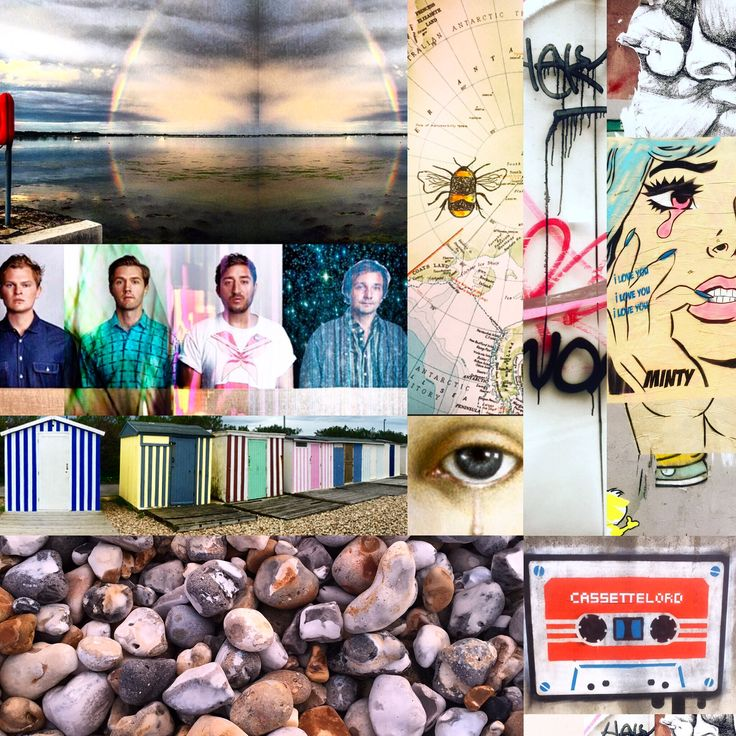 Photomontage mashup Bracklesham Bay sunset, Brighton streetart, graffiti wall, beachuts Bognor Regis, pebble beach photos by Lizzie Reakes, Grizzly Bear, cassettelord, Monty street artists, Victorian brooch - lover's eye