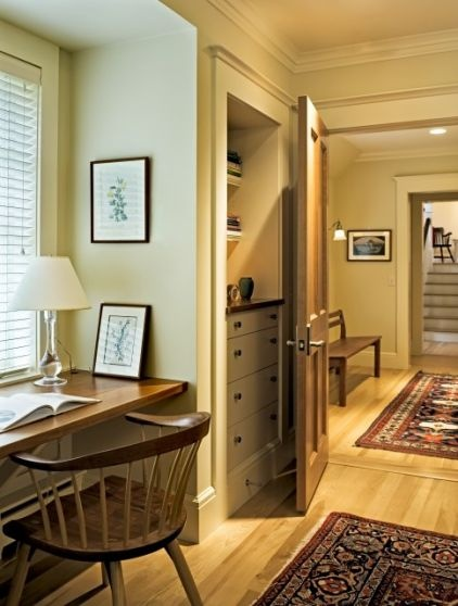 An existing hall closet gets a custom look with built-in drawers and open shelving. Without the extra door, traffic flow is improved and two open doors won't bang into each other.  Private Comment: Hall Closet, Small Closet, Closet Doors, Built Ins, Builtin, Built In Dressers, Closet Ideas, Traditional Home Offices, Linens Closet