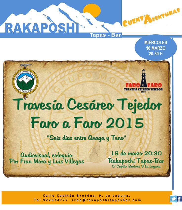 """Miércoles 16 de marzo a las 20:30 h, disfrutaremos de un audiovisual realizado por los amigos de la emblemática travesía """"Faro a Faro"""". Te esperamos en nuestro #cuentaventuras"""
