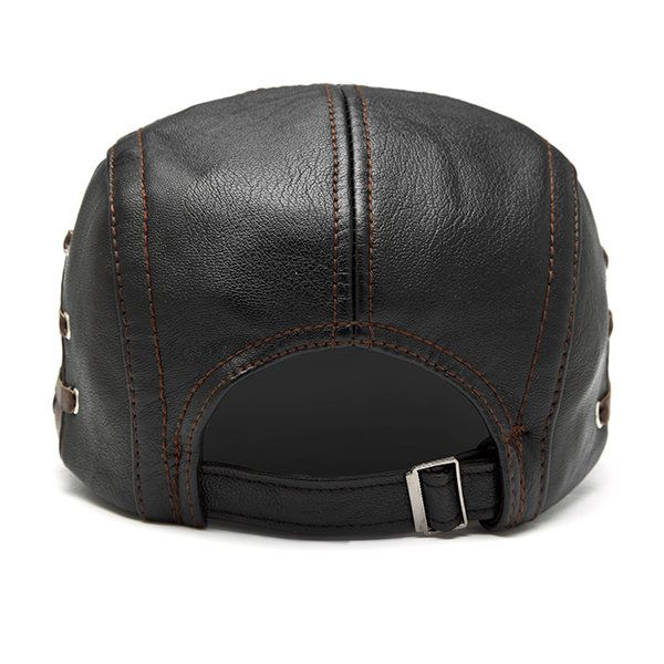 Men PU Leather Lace-up Beret Caps Casual Outdoor Winter Warm Windproof Duck Hats Adjustable Caps