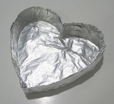 Make your own heart shaped cake pan! So easy!!  Red velvet w/cream cheese filling.