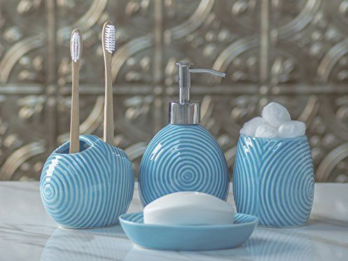 Designer 4-Piece Ceramic Bath Accessory Set.included in this luxury bath ensemble: liquid soap or lotion dispenser with premium metal pump, toothbrush holder, tumbler, and soap dish, in matching color and style. The perfect blend of elegant luxury design, high-quality materials, and superior functionality