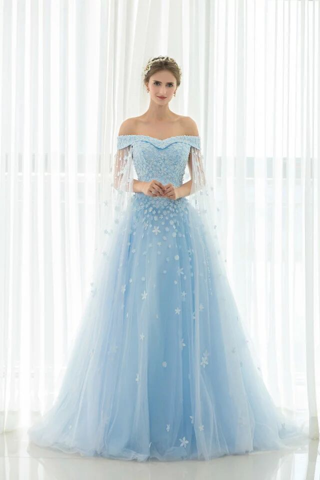 17 best ideas about sky blue weddings 2017 on pinterest for Long blue dress for wedding