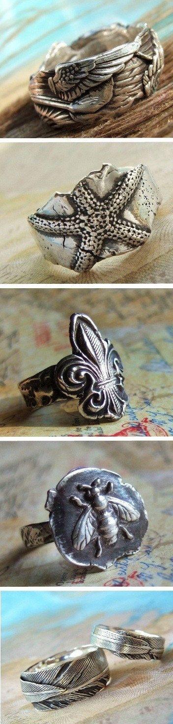 Rustic Fleur De Lis Jewelry, Fleur de Lis Ring, STERLING SILVER Fleur de Lis…
