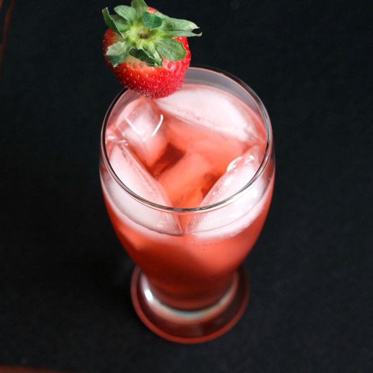 Strawberry Fields Forever drink recipe: brandy, strawberry schnapps, soda water