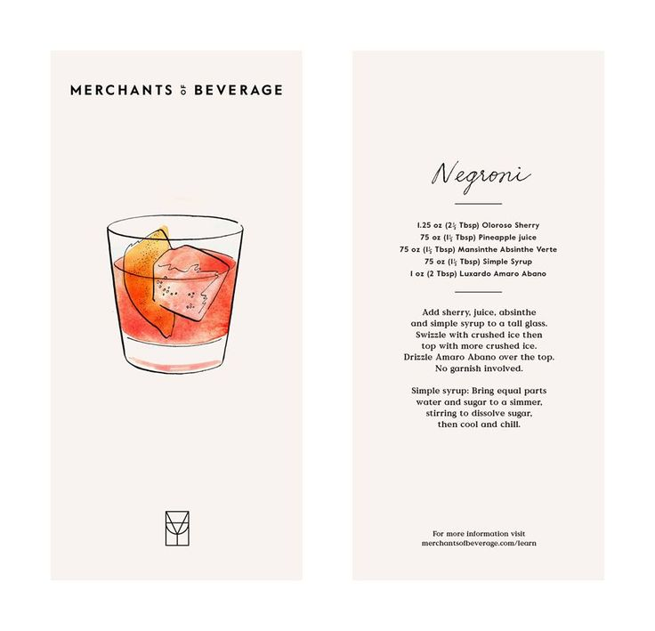 Merchants of Beverage cocktail card | Watercolor illustration & design