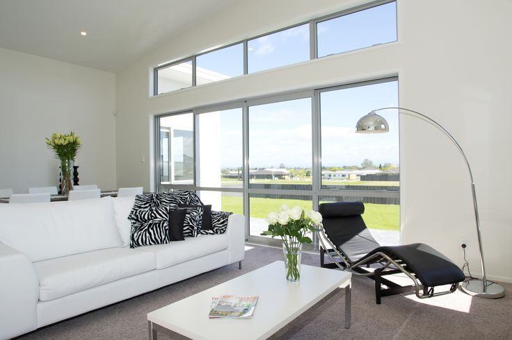 White and Black colour theme in the living room of this G.J.Gardner home.