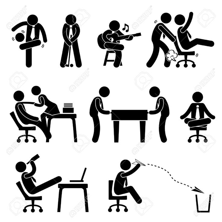 Employee Worker Staff Office Workplace Having Fun Playing Stick.. Royalty Free Cliparts, Vectors, And Stock Illustration. Pic 19686418.