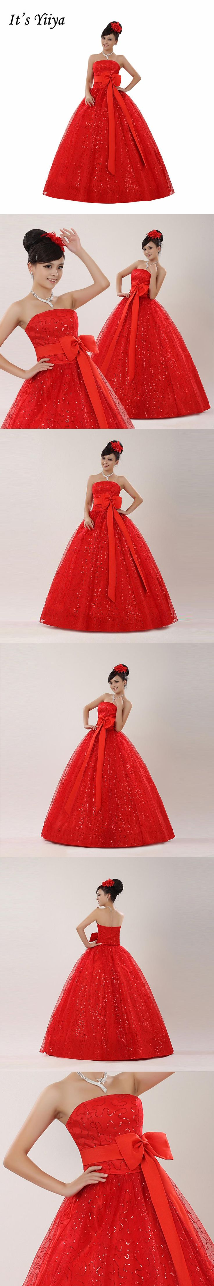 Free Shipping Real Photo Plus Size Bow Strapless Wedding Dresses Red Cheap Bride Gowns Frocks Vestidos De Novia XN081