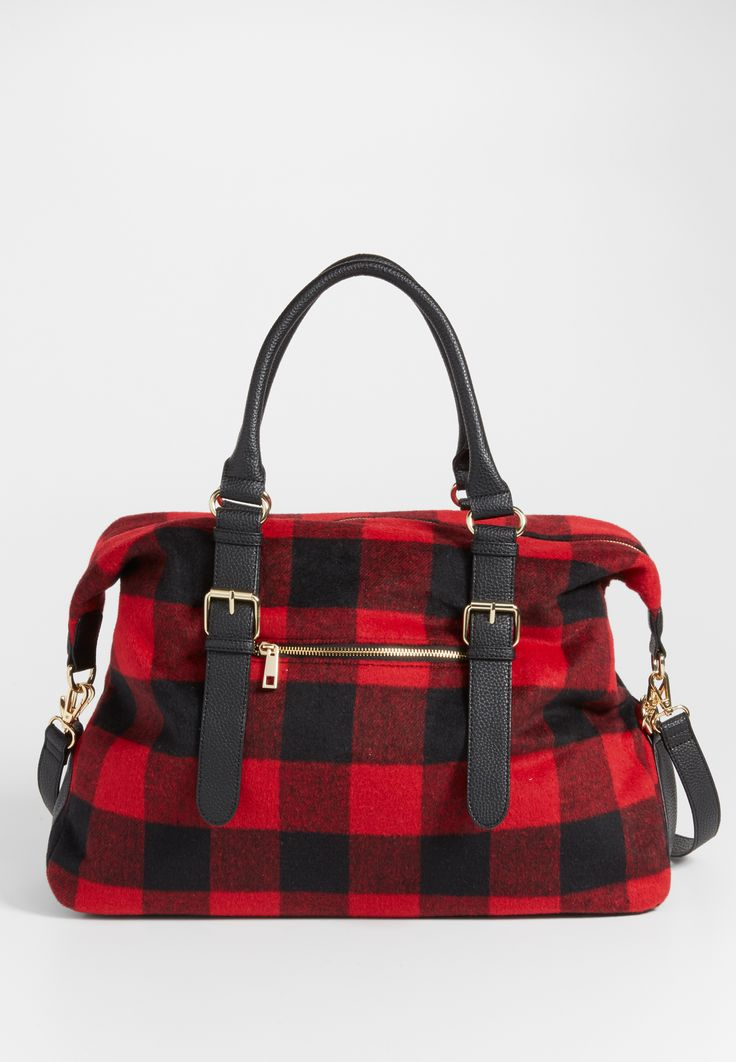 faux leather and buffalo plaid weekender bag